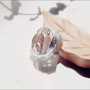 Feather Wrap Ring Silver Plated Boho NWT